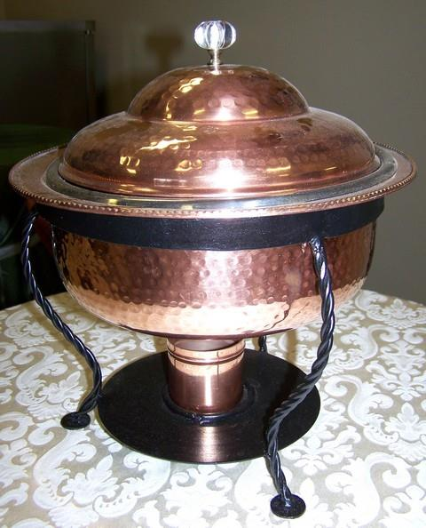 Where to find 3QT RND COPPER HAMMERED CHAFER in Tyler