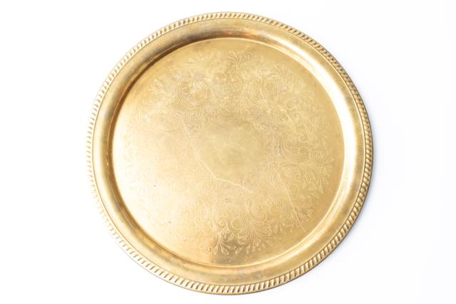 Where to find 19  ROUND GOLD GADROON TRAY in Tyler