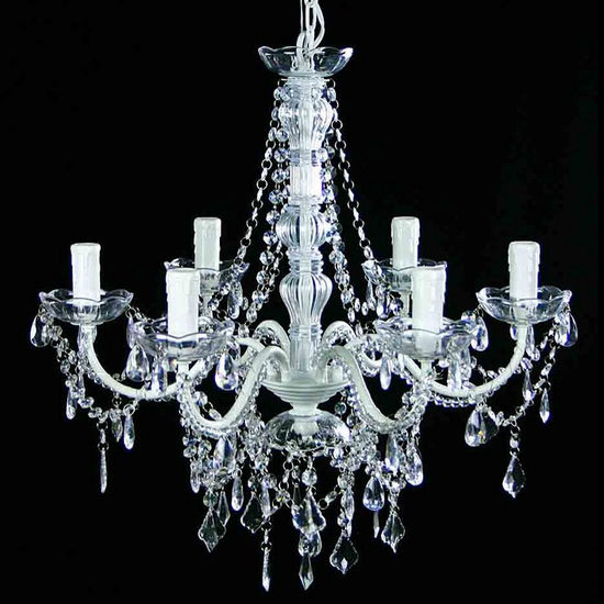 Where to find CHANDELIER, 6 LT WHITE WITH CRYSTALS in Tyler