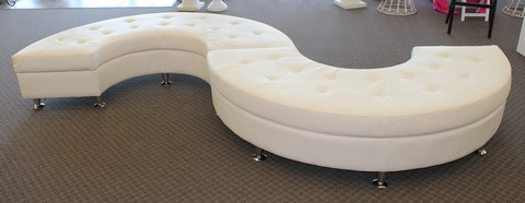 Where to find HALF-ROUND WHITE LEATHER LOUNGE in Tyler