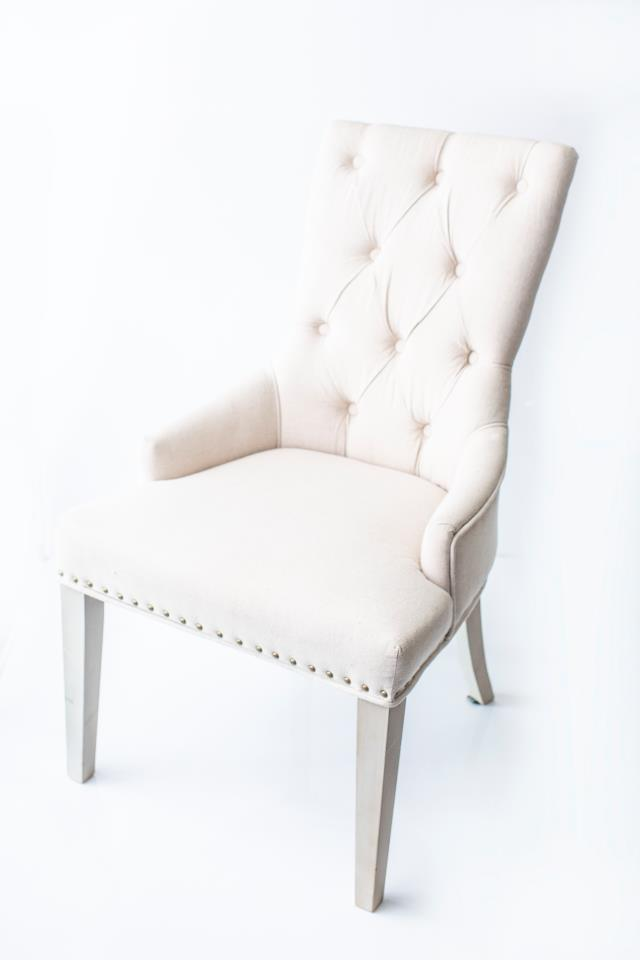 Where to find BEIGE LINEN BUTTON TUFTED CHAIR in Tyler
