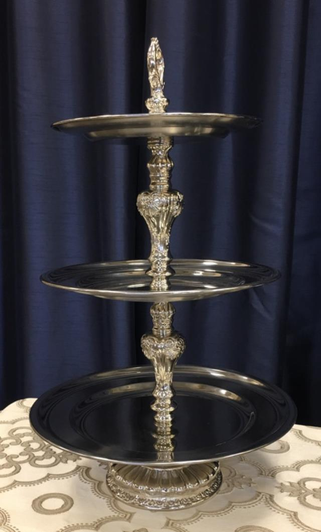 Where to find 3 TIER SMALL POLISHED STAINLESS TRAY in Tyler