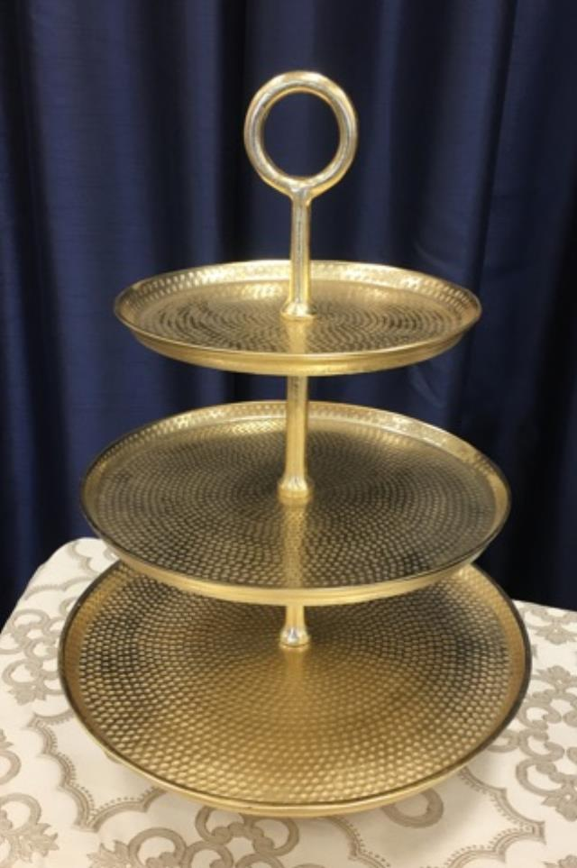 Where to find 3 TIER GOLD HAMMERED TRAY in Tyler