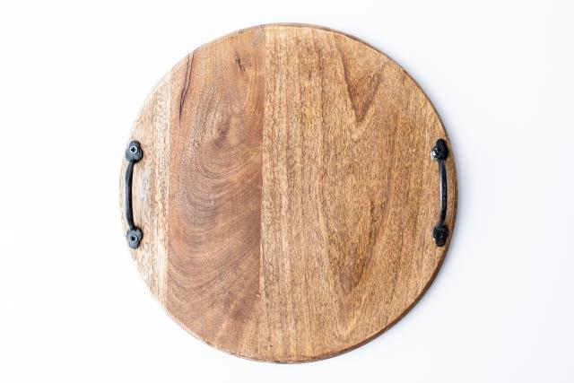 Where to find 16  RND MANGO WOOD TRAY WITH HANDLES in Tyler
