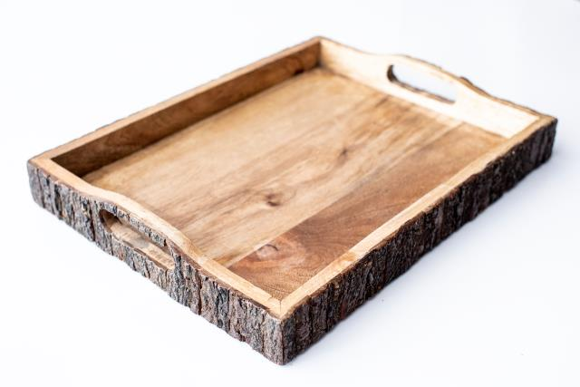 Where to find 10 X15  MANGO BARK WOOD TRAY W  HANDLES in Tyler