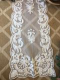 Rental store for 16  X 72  IVORY EMBROIDERED TABLE RUNNER in Tyler TX