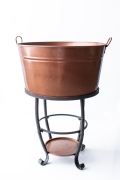Rental store for FAUX COPPER BEV TUB ON BLACK STAND in Tyler TX